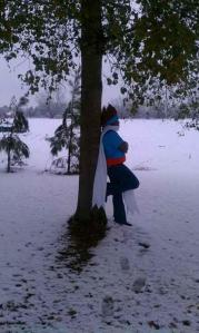 My Ginga Costume during one of the rare times it snows in South Carolina. Did it ever snow in Beyblade?