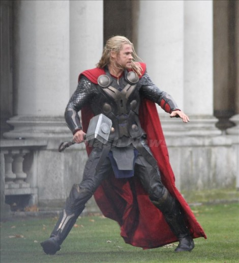 "Chris Hemsworth continues filming scenes for ""Thor 2"" London, UK"